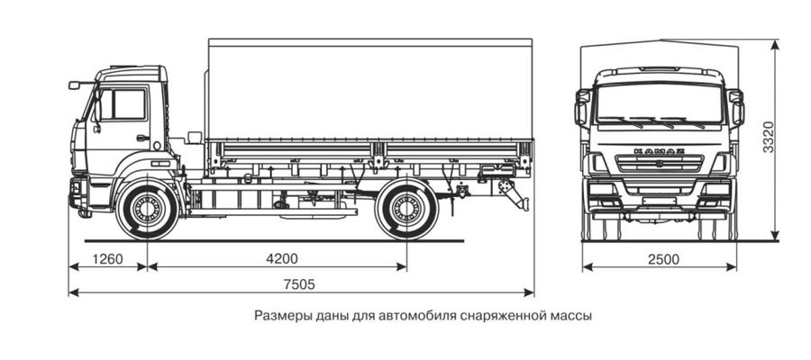 Бортовой КАМАЗ-43253 (4х2) чертеж