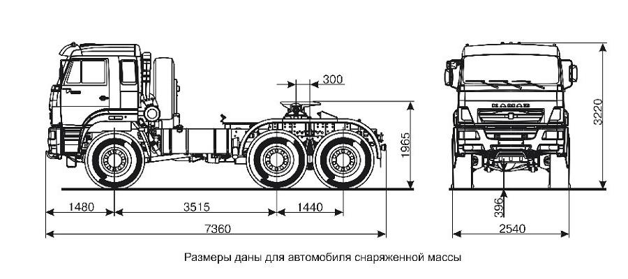 Седельный тягач КАМАЗ-65221 (6х6) чертеж