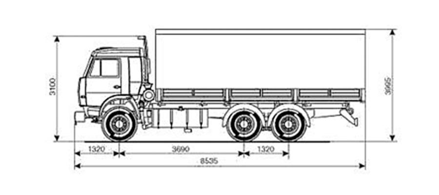 Бортовой КамАЗ-53215-052-15 чертеж