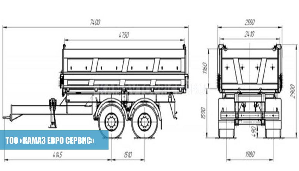 Прицеп-самосвальный-Тракторный-двускатный-СЗАП-8582Т,2